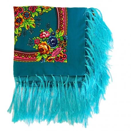 Foulard Turc bleu à franges